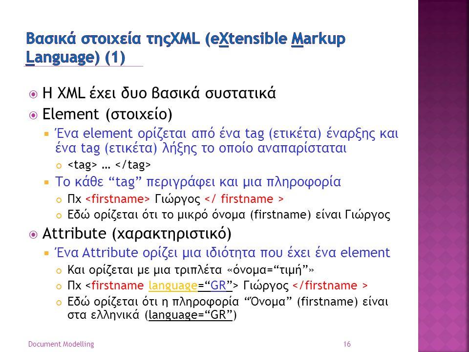  Η XML έχει δυο βασικά συστατικά  Element (στοιχείο)  Ένα element ορίζεται από ένα tag (ετικέτα) έναρξης και ένα tag (ετικέτα) λήξης το οποίο αναπαρίσταται …  Το κάθε tag περιγράφει και μια πληροφορία Πχ Γιώργος Εδώ ορίζεται ότι το μικρό όνομα (firstname) είναι Γιώργος  Attribute (χαρακτηριστικό)  Ένα Attribute ορίζει μια ιδιότητα που έχει ένα element Και ορίζεται με μια τριπλέτα «όνομα= τιμή » Πχ Γιώργος Εδώ ορίζεται ότι η πληροφορία Όνομα (firstname) είναι στα ελληνικά (language= GR ) 16 Document Modelling
