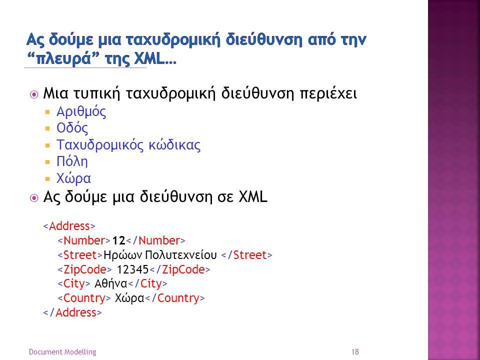  Μια τυπική ταχυδρομική διεύθυνση περιέχει  Αριθμός  Οδός  Ταχυδρομικός κώδικας  Πόλη  Χώρα  Ας δούμε μια διεύθυνση σε XML 18 Document Modelling 12 Ηρώων Πολυτεχνείου 12345 Αθήνα Χώρα
