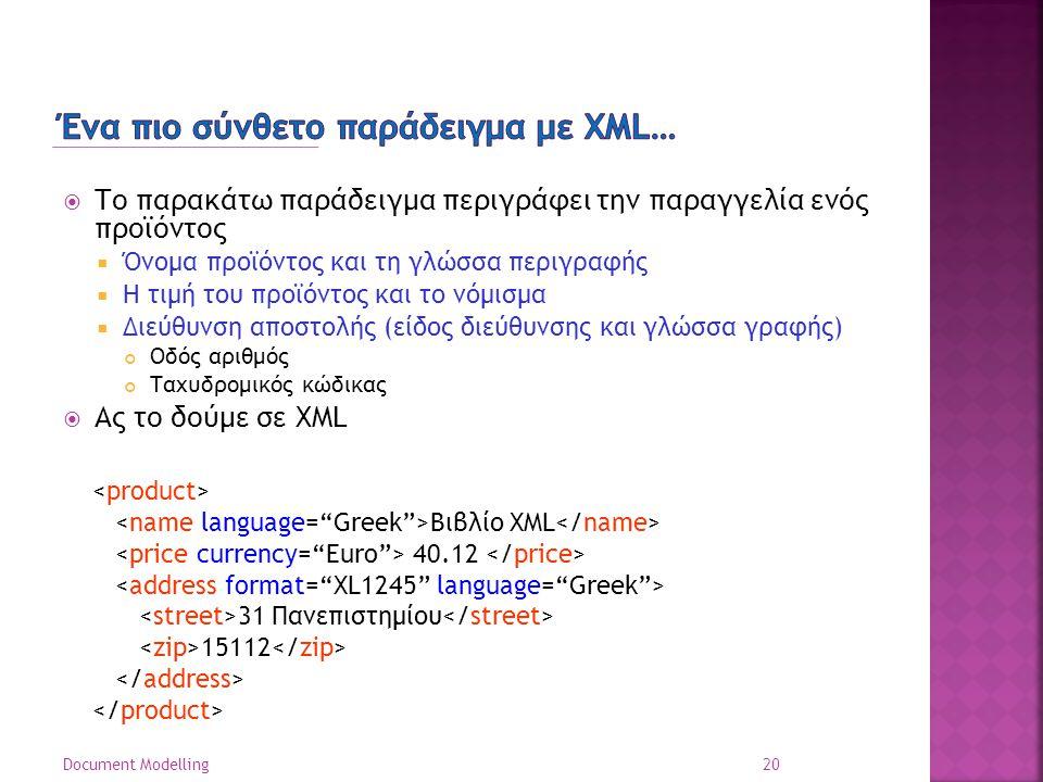  Το παρακάτω παράδειγμα περιγράφει την παραγγελία ενός προϊόντος  Όνομα προϊόντος και τη γλώσσα περιγραφής  Η τιμή του προϊόντος και το νόμισμα  Διεύθυνση αποστολής (είδος διεύθυνσης και γλώσσα γραφής) Οδός αριθμός Ταχυδρομικός κώδικας  Ας το δούμε σε XML 20 Document Modelling Βιβλίο XML 40.12 31 Πανεπιστημίου 15112