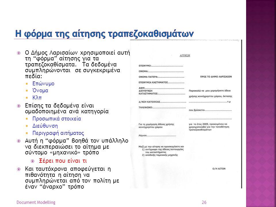 26 Document Modelling  Ο Δήμος Λαρισαίων χρησιμοποιεί αυτή τη φόρμα αίτησης για τα τραπεζοκαθίσματα.