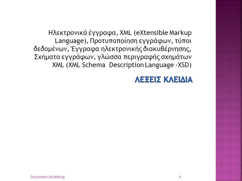 Ηλεκτρονικά έγγραφα, XML (eXtensible Markup Language), Προτυποποίηση εγγράφων, τύποι δεδομένων, Έγγραφα ηλεκτρονικής διακυβέρνησης, Σχήματα εγγράφων, γλώσσα περιγραφής σχημάτων XML (XML Schema Description Language -XSD) 4 Document Modelling