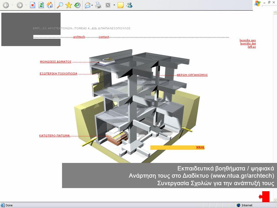 Εκπαιδευτικά βοηθήματα / ψηφιακά Ανάρτηση τους στο Διαδίκτυο (www.ntua.gr/archtech) Συνεργασία Σχολών για την ανάπτυξή τους