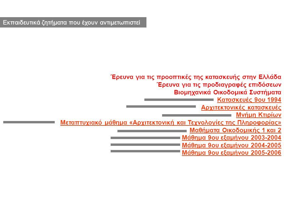 Έρευνα για τις προοπτικές της κατασκευής στην Ελλάδα Έρευνα για τις προδιαγραφές επιδόσεων Βιομηχανικά Οικοδομικά Συστήματα Κατασκευές 9ου 1994 Αρχιτε