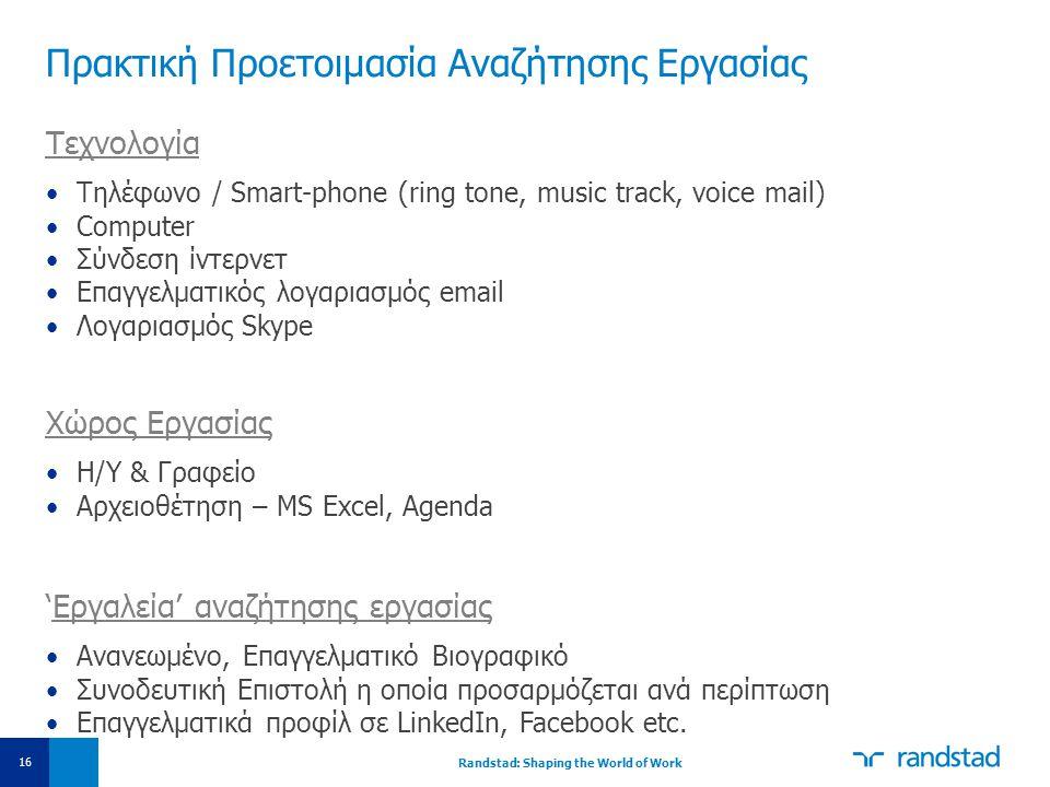 Πρακτική Προετοιμασία Αναζήτησης Εργασίας Τεχνολογία •Τηλέφωνο / Smart-phone (ring tone, music track, voice mail) •Computer •Σύνδεση ίντερνετ •Επαγγελ
