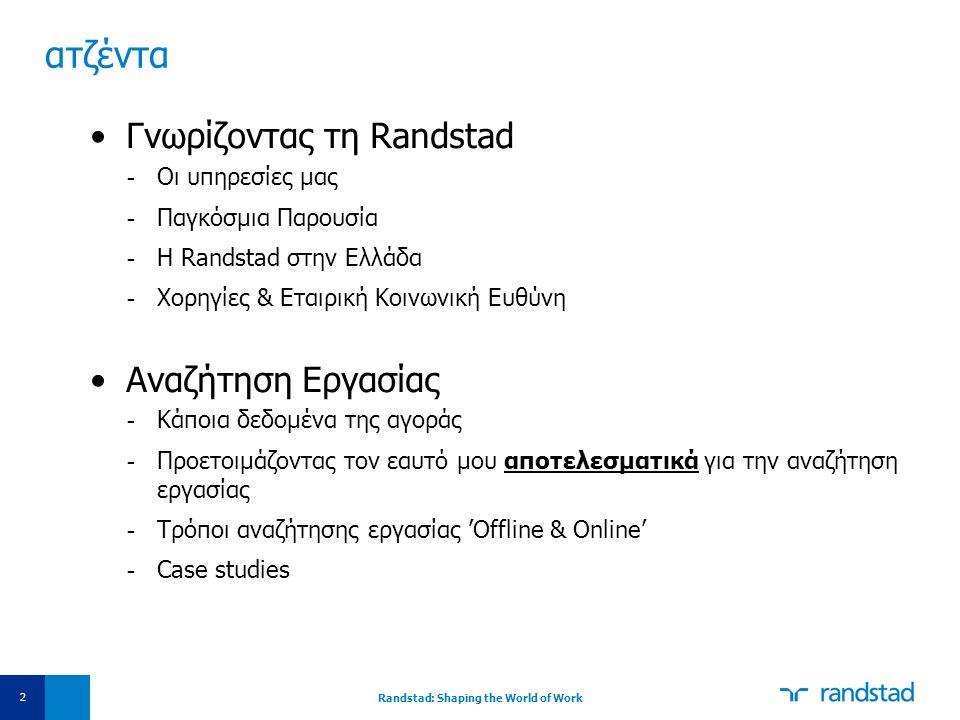 ατζέντα •Γνωρίζοντας τη Randstad - Οι υπηρεσίες μας - Παγκόσμια Παρουσία - Η Randstad στην Ελλάδα - Χορηγίες & Εταιρική Κοινωνική Ευθύνη •Αναζήτηση Ερ