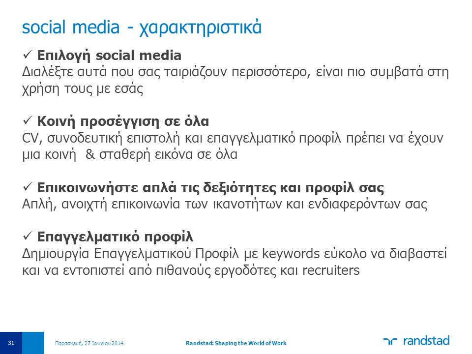 social media - χαρακτηριστικά  Επιλογή social media Διαλέξτε αυτά που σας ταιριάζουν περισσότερο, είναι πιο συμβατά στη χρήση τους με εσάς  Κοινή πρ