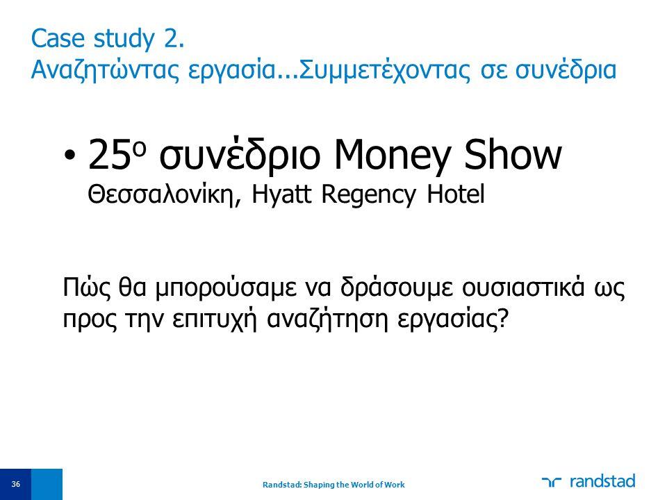 Case study 2. Αναζητώντας εργασία...Συμμετέχοντας σε συνέδρια • 25 ο συνέδριο Money Show Θεσσαλονίκη, Hyatt Regency Hotel Πώς θα μπορούσαμε να δράσουμ