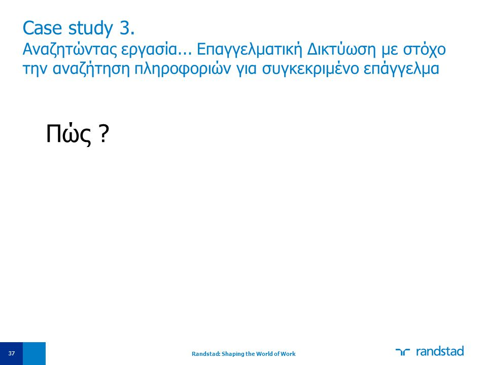 Case study 3. Αναζητώντας εργασία... Επαγγελματική Δικτύωση με στόχο την αναζήτηση πληροφοριών για συγκεκριμένο επάγγελμα Πώς ? Randstad: Shaping the