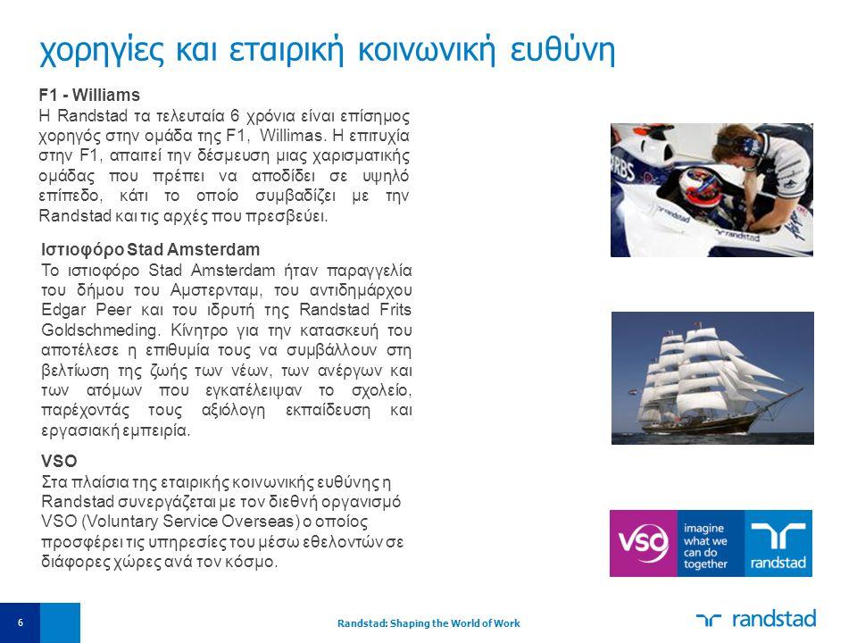 χορηγίες και εταιρική κοινωνική ευθύνη 6 F1 - Williams H Randstad τα τελευταία 6 χρόνια είναι επίσημος χορηγός στην ομάδα της F1, Willimas. Η επιτυχία