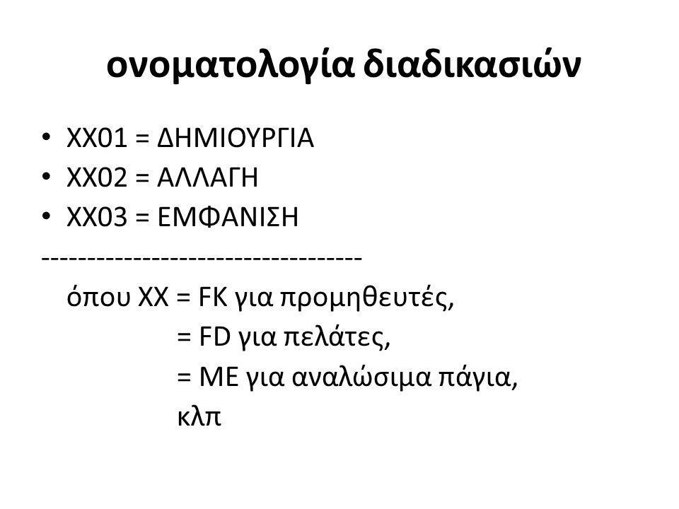ονοματολογία διαδικασιών • XX01 = ΔΗΜΙΟΥΡΓΙΑ • ΧΧ02 = ΑΛΛΑΓΗ • ΧΧ03 = ΕΜΦΑΝΙΣΗ ----------------------------------- όπου ΧΧ = FK για προμηθευτές, = FD