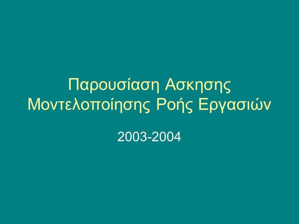 Παρουσίαση Ασκησης Μοντελοποίησης Ροής Εργασιών 2003-2004