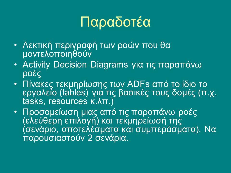 Παραδοτέα •Λεκτική περιγραφή των ροών που θα μοντελοποιηθούν •Activity Decision Diagrams για τις παραπάνω ροές •Πίνακες τεκμηρίωσης των ADFs από το ίδιο το εργαλείο (tables) για τις βασικές τους δομές (π.χ.