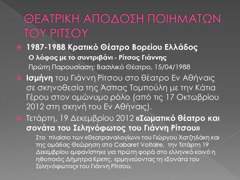  1987-1988 Κρατικό Θέατρο Βορείου Ελλάδος Ο λόφος με το συντριβάνι - Ρίτσος Γιάννης Πρώτη Παρουσίαση: Βασιλικό Θέατρο, 15/04/1988  Ισμήνη του Γιάννη