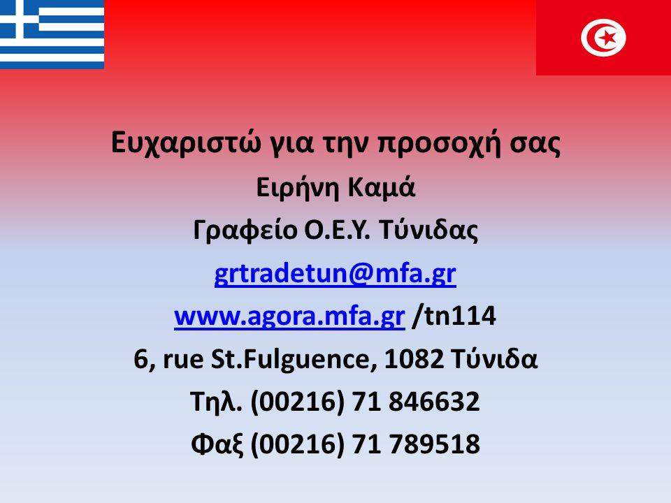 Ευχαριστώ για την προσοχή σας Ειρήνη Καμά Γραφείο Ο.Ε.Υ. Τύνιδας grtradetun@mfa.gr www.agora.mfa.grwww.agora.mfa.gr /tn114 6, rue St.Fulguence, 1082 Τ