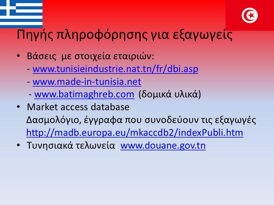 Πηγής πληροφόρησης για εξαγωγείς • Βάσεις με στοιχεία εταιριών: - www.tunisieindustrie.nat.tn/fr/dbi.aspwww.tunisieindustrie.nat.tn/fr/dbi.asp - www.made-in-tunisia.netwww.made-in-tunisia.net - www.batimaghreb.com (δομικά υλικά)www.batimaghreb.com • Market access database Δασμολόγιο, έγγραφα που συνοδεύουν τις εξαγωγές http://madb.europa.eu/mkaccdb2/indexPubli.htm • Τυνησιακά τελωνεία www.douane.gov.tnwww.douane.gov.tn