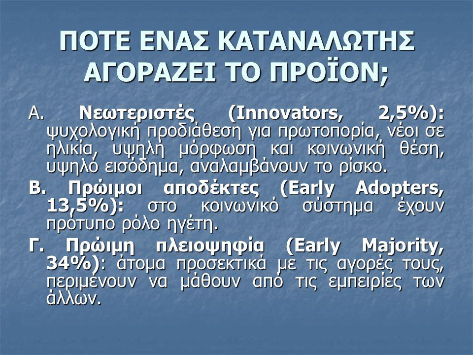 ΠΟΤΕ ΕΝΑΣ ΚΑΤΑΝΑΛΩΤΗΣ ΑΓΟΡΑΖΕΙ ΤΟ ΠΡΟΪΟΝ; Α. Νεωτεριστές (Innovators, 2,5%): ψυχολογική προδιάθεση για πρωτοπορία, νέοι σε ηλικία, υψηλή μόρφωση και κ
