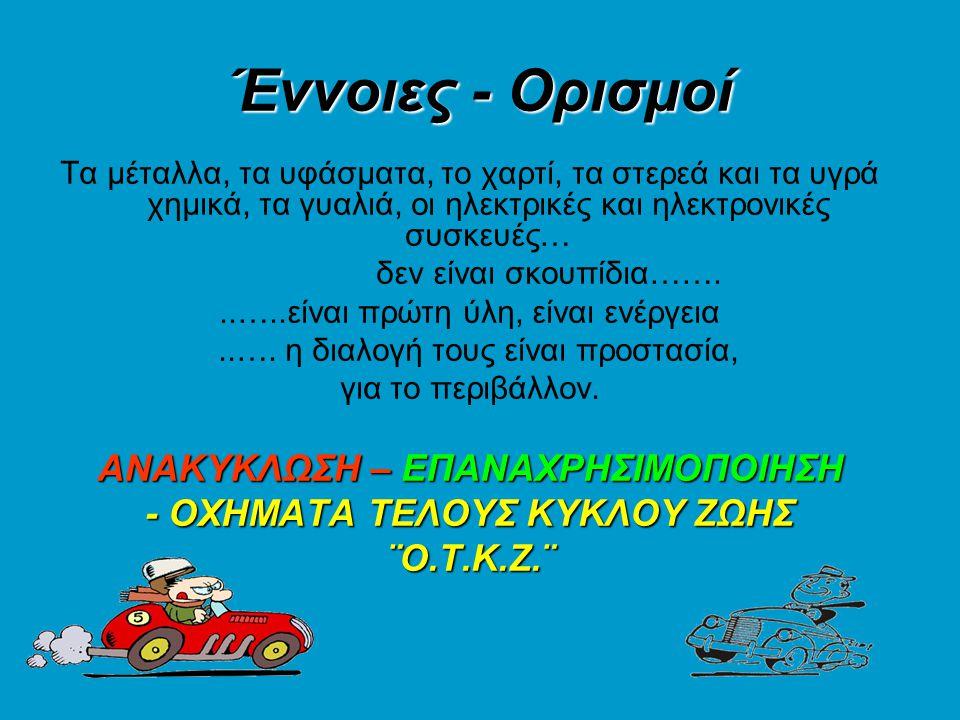 Περιβαλλοντικά οφέλη της ανακύκλωσης αυτοκινήτων.•Αποφυγή ρύπανσης του περιβάλλοντος.