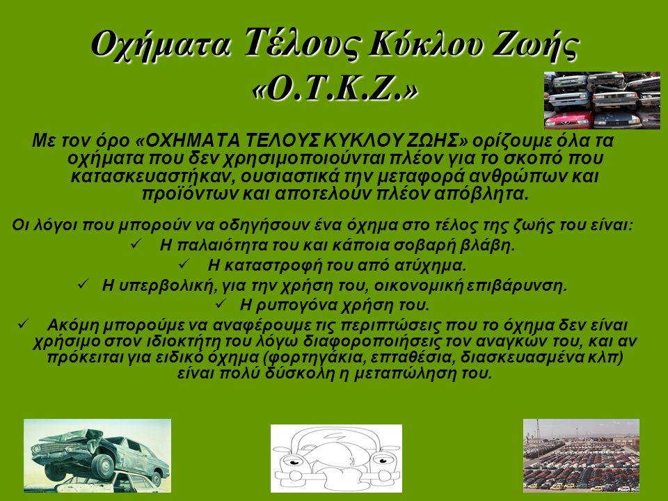 Οχήματα Τέλους Κύκλου Ζωής « Ο. Τ. Κ. Ζ.» Με τον όρο «ΟΧΗΜΑΤΑ ΤΕΛΟΥΣ ΚΥΚΛΟΥ ΖΩΗΣ» ορίζουμε όλα τα οχήματα που δεν χρησιμοποιούνται πλέον για το σκοπό
