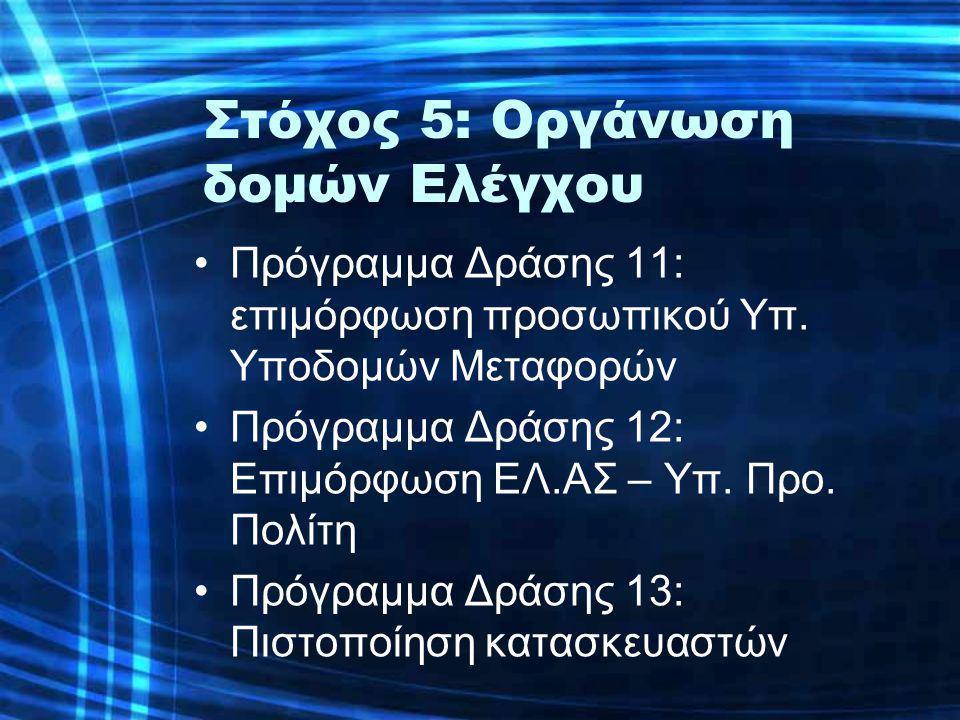 Στόχος 5: Οργάνωση δομών Ελέγχου •Πρόγραμμα Δράσης 11: επιμόρφωση προσωπικού Υπ.