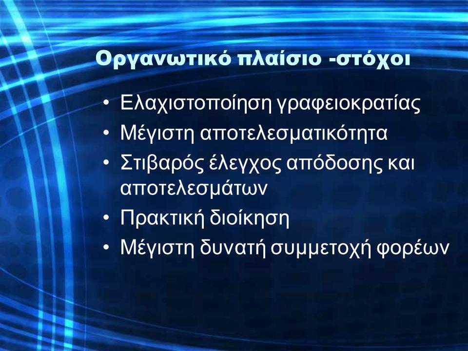 Οργανωτικό πλαίσιο -στόχοι •Ελαχιστοποίηση γραφειοκρατίας •Μέγιστη αποτελεσματικότητα •Στιβαρός έλεγχος απόδοσης και αποτελεσμάτων •Πρακτική διοίκηση •Μέγιστη δυνατή συμμετοχή φορέων