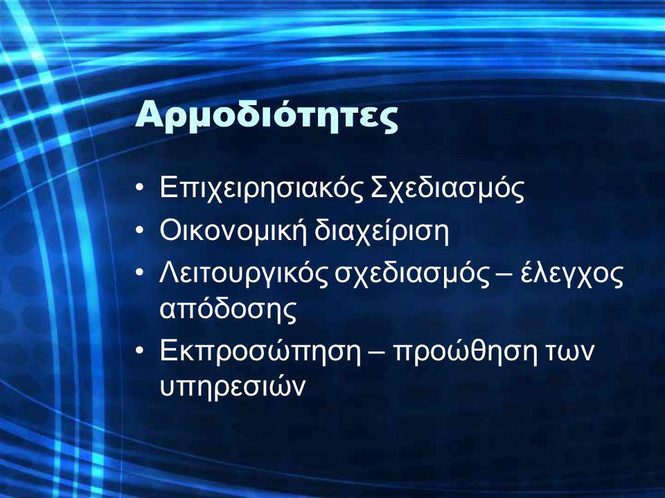 Αρμοδιότητες •Επιχειρησιακός Σχεδιασμός •Οικονομική διαχείριση •Λειτουργικός σχεδιασμός – έλεγχος απόδοσης •Εκπροσώπηση – προώθηση των υπηρεσιών