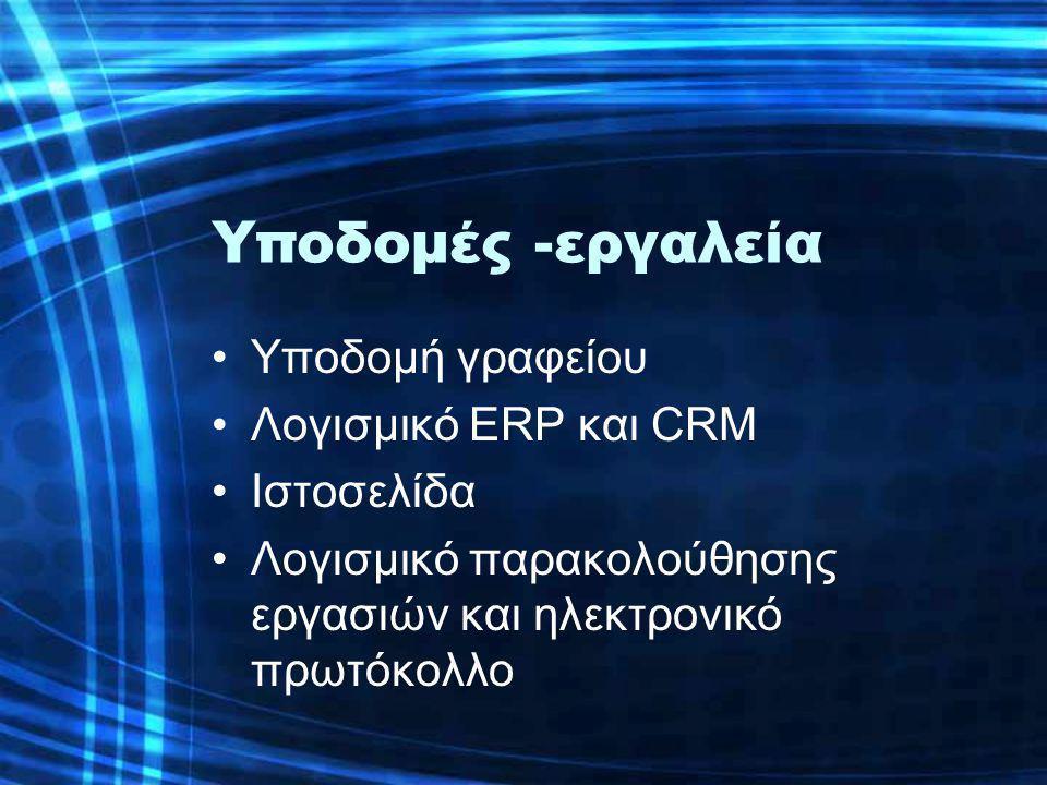 Υποδομές -εργαλεία •Υποδομή γραφείου •Λογισμικό ERP και CRM •Ιστοσελίδα •Λογισμικό παρακολούθησης εργασιών και ηλεκτρονικό πρωτόκολλο