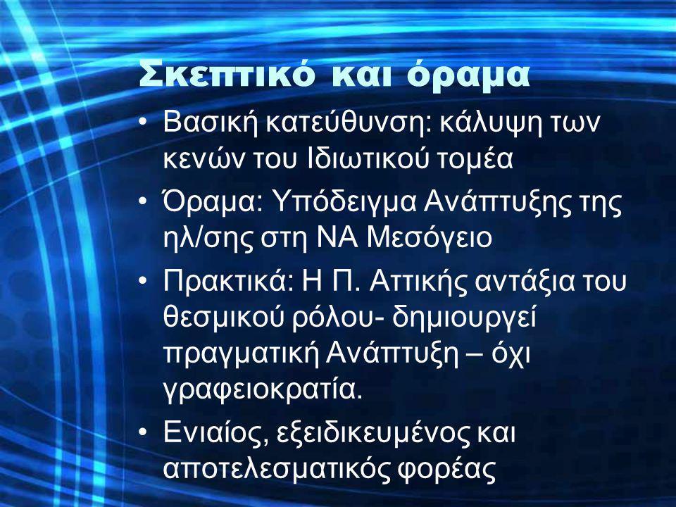 Σκεπτικό και όραμα •Βασική κατεύθυνση: κάλυψη των κενών του Ιδιωτικού τομέα •Όραμα: Υπόδειγμα Ανάπτυξης της ηλ/σης στη ΝΑ Μεσόγειο •Πρακτικά: Η Π. Αττ