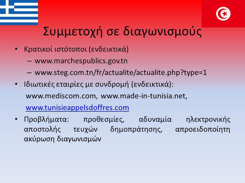 Συμμετοχή σε διαγωνισμούς • Κρατικοί ιστότοποι (ενδεικτικά) – www.marchespublics.gov.tn – www.steg.com.tn/fr/actualite/actualite.php?type=1 • Ιδιωτικές εταιρίες με συνδρομή (ενδεικτικά): www.mediscom.com, www.made-in-tunisia.net, www.tunisieappelsdoffres.comwww.tunisieappelsdoffres.com • Προβλήματα: προθεσμίες, αδυναμία ηλεκτρονικής αποστολής τευχών δημοπράτησης, απροειδοποίητη ακύρωση διαγωνισμών