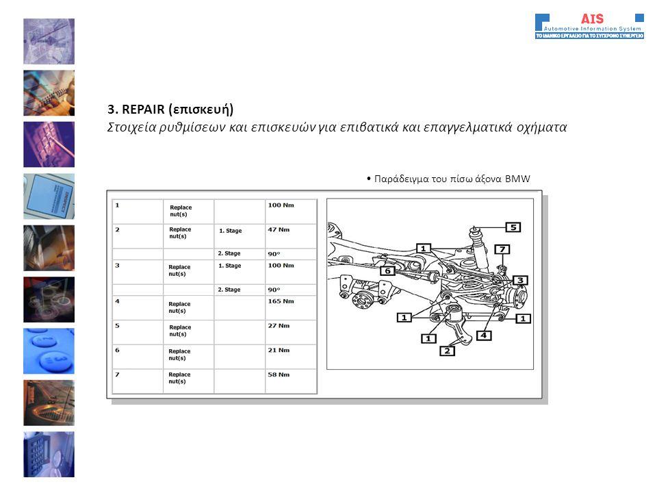 • Παράδειγμα του πίσω άξονα ΒΜW 3. REPAIR (επισκευή) Στοιχεία ρυθμίσεων και επισκευών για επιβατικά και επαγγελματικά οχήματα