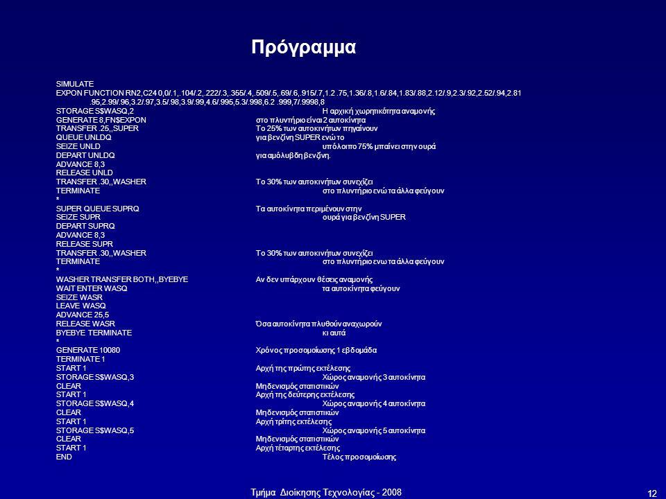 Τμήμα Διοίκησης Τεχνολογίας - 2008 12 Πρόγραμμα SIMULATE EXPON FUNCTION RN2,C24 0,0/.1,.104/.2,.222/.3,.355/.4,.509/.5,.69/.6,.915/.7,1.2.75,1.36/.8,1.6/.84,1.83/.88,2.12/.9,2.3/.92,2.52/.94,2.81.95,2.99/.96,3.2/.97,3.5/.98,3.9/.99,4.6/.995,5.3/.998,6.2.999,7/.9998,8 STORAGE S$WASQ,2 Η αρχική χωρητικότητα αναμονής GENERATE 8,FN$EXPON στο πλυντήριο είναι 2 αυτοκίνητα TRANSFER.25,,SUPER Το 25% των αυτοκινήτων πηγαίνουν QUEUE UNLDQ για βενζίνη SUPER ενώ το SEIZE UNLD υπόλοιπο 75% μπαίνει στην ουρά DEPART UNLDQ για αμόλυβδη βενζίνη.