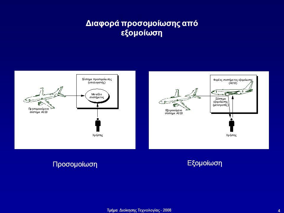 Τμήμα Διοίκησης Τεχνολογίας - 2008 4 Διαφορά προσομοίωσης από εξομοίωση Προσομοίωση Εξομοίωση