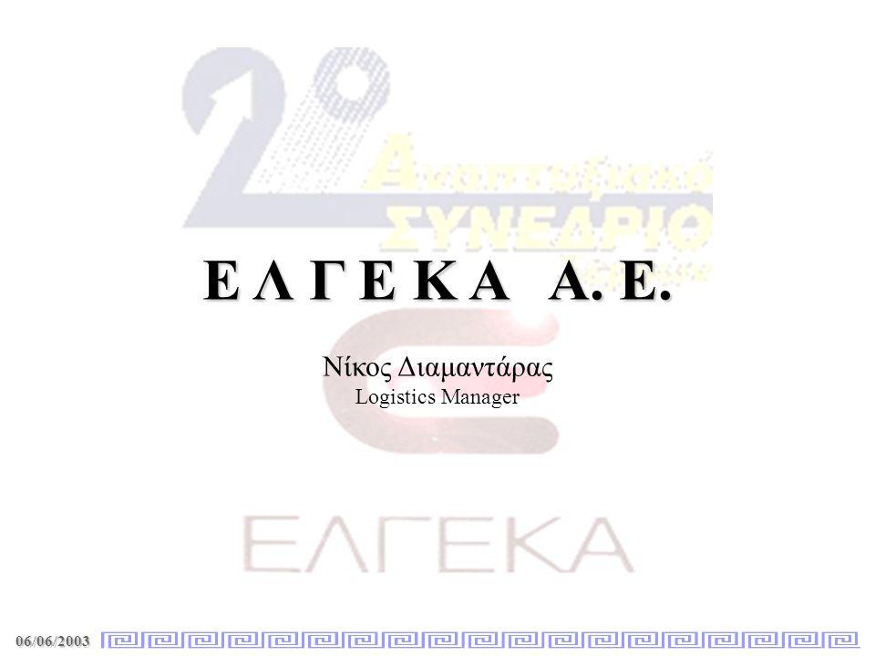 06/06/2003 Ε Λ Γ Ε Κ Α Α. Ε. Νίκος Διαμαντάρας Logistics Manager