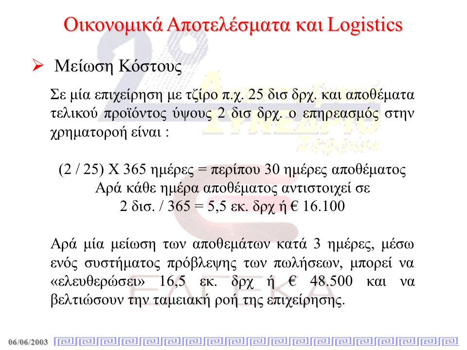 06/06/2003 Οικονομικά Αποτελέσματα και Logistics   Μείωση Κόστους Σε μία επιχείρηση με τζίρο π.χ. 25 δισ δρχ. και αποθέματα τελικού προϊόντος ύψους