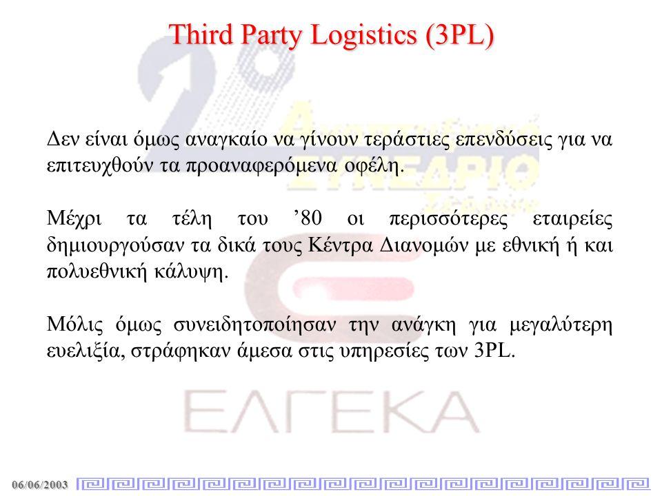 06/06/2003 Third Party Logistics (3PL) Δεν είναι όμως αναγκαίο να γίνουν τεράστιες επενδύσεις για να επιτευχθούν τα προαναφερόμενα οφέλη. Μέχρι τα τέλ