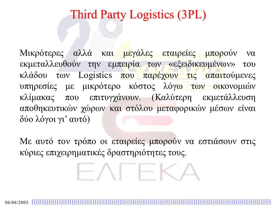 06/06/2003 Third Party Logistics (3PL) Μικρότερες αλλά και μεγάλες εταιρείες μπορούν να εκμεταλλευθούν την εμπειρία των «εξειδικευμένων» του κλάδου τω