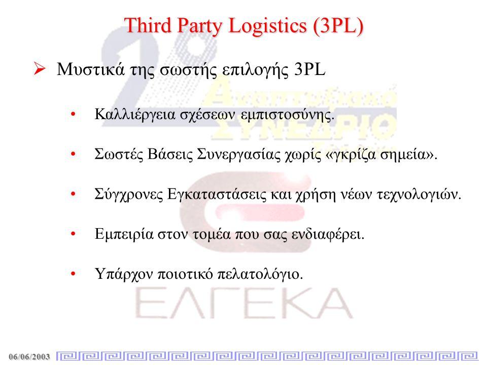 06/06/2003 Third Party Logistics (3PL)   Μυστικά της σωστής επιλογής 3PL • •Καλλιέργεια σχέσεων εμπιστοσύνης. • •Σύγχρονες Εγκαταστάσεις και χρήση ν