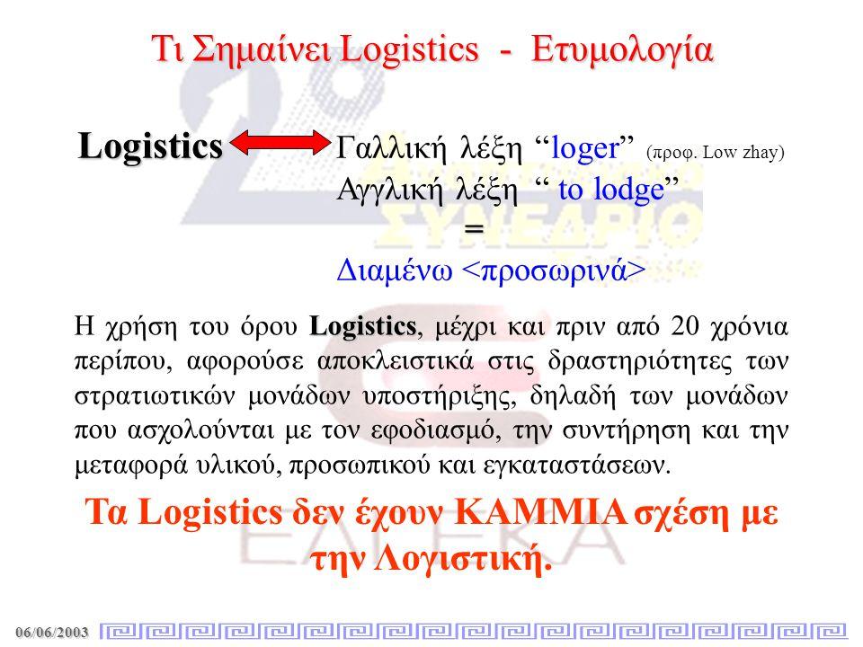 06/06/2003 Τι Σημαίνει Logistics - Ορισμοί «Η διαδικασία σχεδιασμού, υλοποίησης, ελέγχου, της αποτελεσματικής και συμφέρουσας ροής και αποθήκευσης πρώτων υλών, ενδιάμεσων και τελικών προϊόντων καθώς και συλλογή όλων των σχετικών πληροφοριών από την παραγγελία των πρώτων υλών μέχρι και την παράδοση στον τελικό καταναλωτή, με σκοπό την συμμόρφωση στις ανάγκες και απαιτήσεις των πελατών.» Council of Logistics Management - 1985 «Η τέχνη και η επιστήμη της διοίκησης (management) της τεχνικής μεθοδολογίας (engineering) και των τεχνικών δραστηριοτήτων (technical activities) που σχετίζονται με τον σχεδιασμό (design), τον προσδιορισμό των απαιτήσεων (requirements), την απόκτηση, την διατήρηση, και την διάθεση των παραγωγικών πόρων και μέσων που υποστηρίζουν τους στόχους, την στρατηγική, την τακτική και τον έλεγχο μίας επιχείρησης.» Διεθνές Society of Logistics (SOLE) (www.eel.gr) « Η συνολική διαδικασία εισόδου, εσωτερικής διακίνησης και εξόδου υλικών και προϊόντων από μία επιχείρηση.» Johnson & Wood - 1993