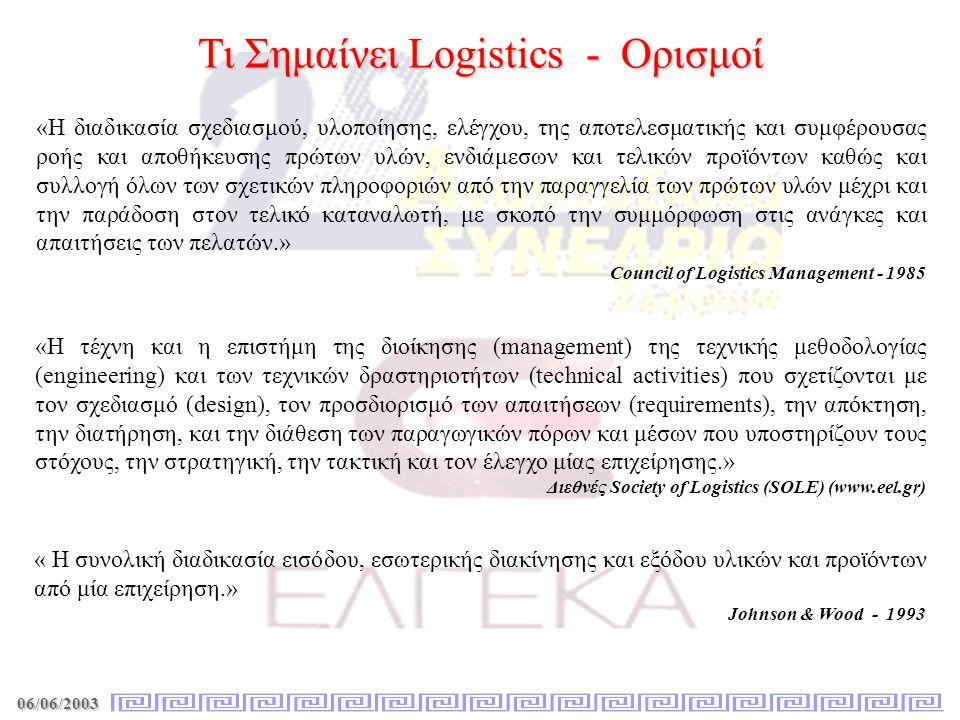 06/06/2003 Τι Σημαίνει Logistics - Ορισμοί «Η διαδικασία σχεδιασμού, υλοποίησης, ελέγχου, της αποτελεσματικής και συμφέρουσας ροής και αποθήκευσης πρώ