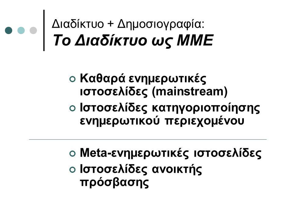 Διαδίκτυο + Δημοσιογραφία: Το Διαδίκτυο ως ΜΜΕ Καθαρά ενημερωτικές ιστοσελίδες (mainstream) Ιστοσελίδες κατηγοριοποίησης ενημερωτικού περιεχομένου Meta-ενημερωτικές ιστοσελίδες Ιστοσελίδες ανοικτής πρόσβασης