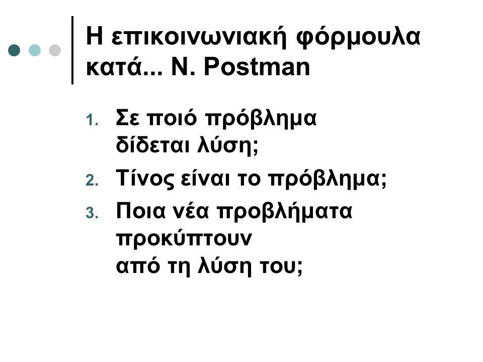 Η επικοινωνιακή φόρμουλα κατά...N. Postman 1. Σε ποιό πρόβλημα δίδεται λύση; 2.