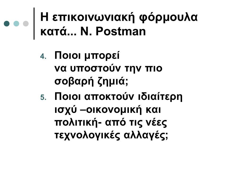 Η επικοινωνιακή φόρμουλα κατά...N. Postman 4. Ποιοι μπορεί να υποστούν την πιο σοβαρή ζημιά; 5.