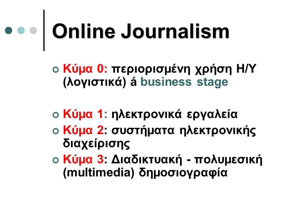 Online Journalism Κύμα 0: περιορισμένη χρήση Η/Υ (λογιστικά) á business stage Κύμα 1: ηλεκτρονικά εργαλεία Κύμα 2: συστήματα ηλεκτρονικής διαχείρισης Κύμα 3: Διαδικτυακή - πολυμεσική (multimedia) δημοσιογραφία