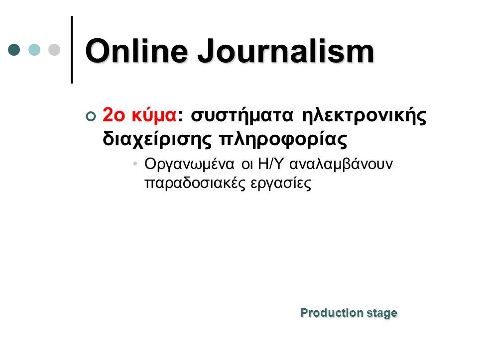 Online Journalism 2o κύμα: συστήματα ηλεκτρονικής διαχείρισης πληροφορίας •Οργανωμένα οι Η/Υ αναλαμβάνουν παραδοσιακές εργασίες Production stage