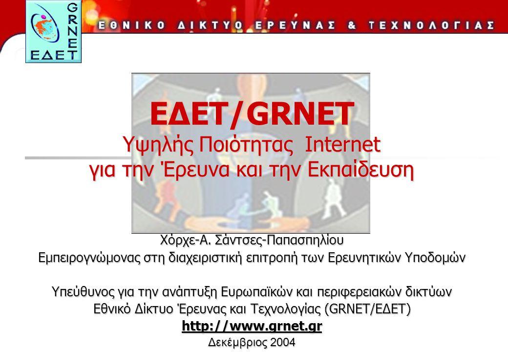 ΕΔΕΤ/GRNET Υψηλής Ποιότητας Internet για την Έρευνα και την Εκπαίδευση Χόρχε-A.