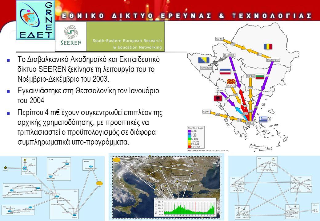 12  Το Διαβαλκανικό Ακαδημαϊκό και Εκπαιδευτικό δίκτυο SEEREN ξεκίνησε τη λειτουργία του το Νοέμβριο-Δεκέμβριο του 2003.