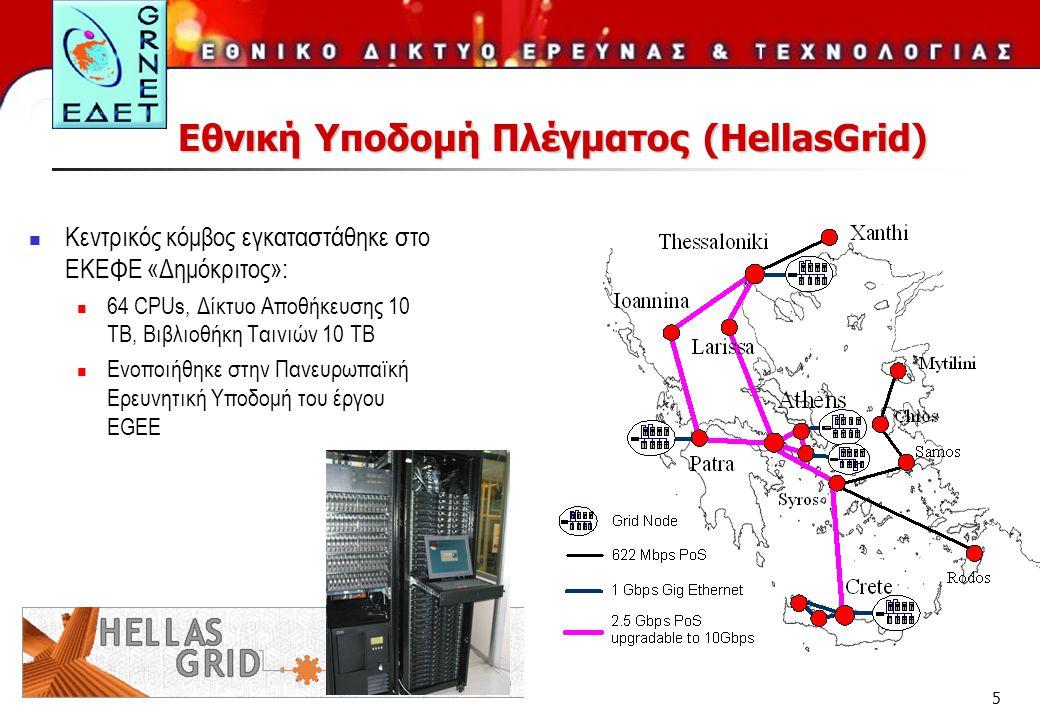 5 Εθνική Υποδομή Πλέγματος (HellasGrid)  Kεντρικός κόμβος εγκαταστάθηκε στο ΕΚΕΦΕ «Δημόκριτος»:  64 CPUs, Δίκτυο Αποθήκευσης 10 TB, Βιβλιοθήκη Ταινιών 10 TB  Ενοποιήθηκε στην Πανευρωπαϊκή Ερευνητική Υποδομή του έργου EGEE