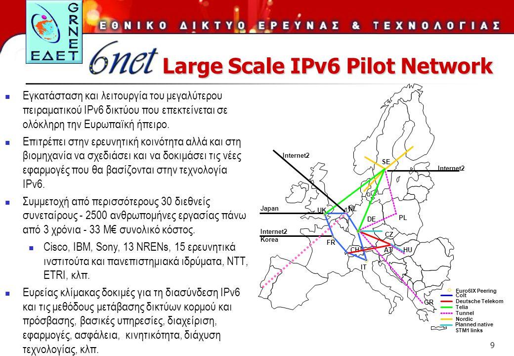 9  Εγκατάσταση και λειτουργία του μεγαλύτερου πειραματικού IPv6 δικτύου που επεκτείνεται σε ολόκληρη την Ευρωπαϊκή ήπειρο.