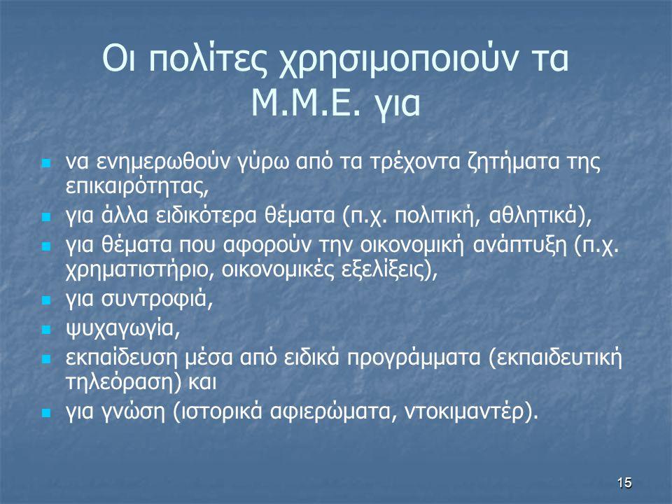 Οι πολίτες χρησιμοποιούν τα Μ.Μ.Ε. για   να ενημερωθούν γύρω από τα τρέχοντα ζητήματα της επικαιρότητας,   για άλλα ειδικότερα θέματα (π.χ. πολιτι
