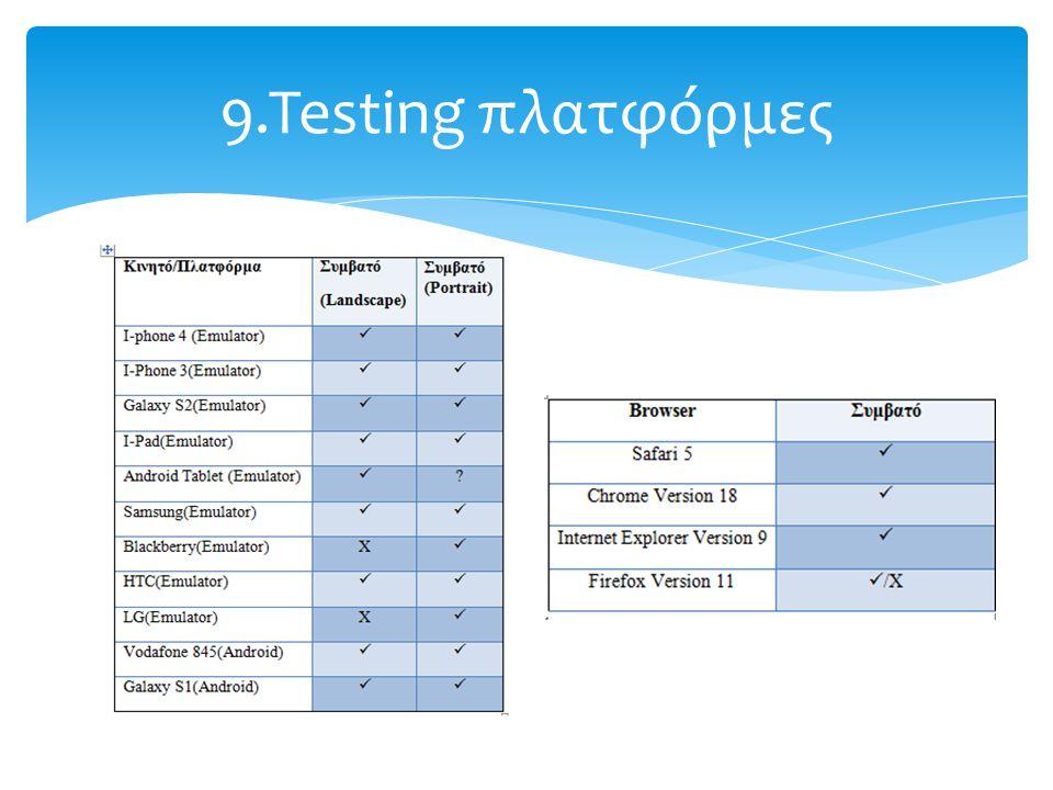9.Testing πλατφόρμες