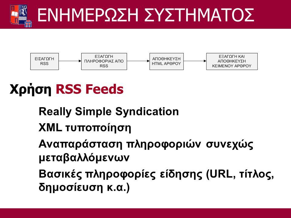 ΕΝΗΜΕΡΩΣΗ ΣΥΣΤΗΜΑΤΟΣ Χρήση RSS Feeds Really Simple Syndication XML τυποποίηση Αναπαράσταση πληροφοριών συνεχώς μεταβαλλόμενων Βασικές πληροφορίες είδησης (URL, τίτλος, δημοσίευση κ.α.)